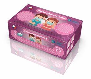 Dětská zdravotnická ochranná rouška GP - 25 ks - růžová