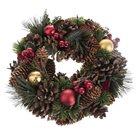Dekorativní vánoční věnec - šišky a hvězdy