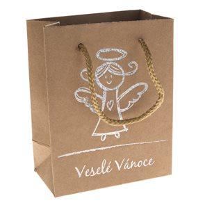 Vánoční papírová taška s Andělem - (23 x 10 x 18 cm)