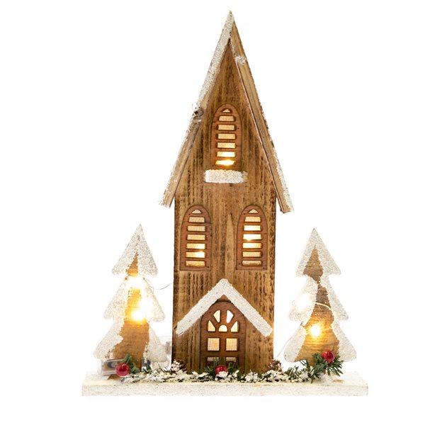 Vánoční dřevěný domeček se světlem