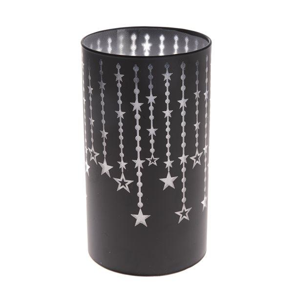 Skleněný svícen s LED světlem černý - Hvězdy, Sleva 50%