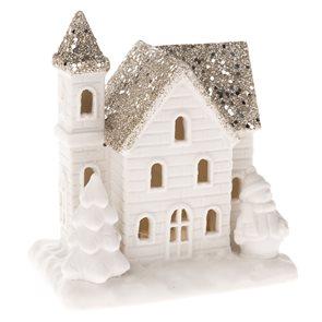 Porcelánový domek s LED světlem bílý - Sněhulák