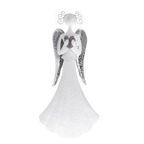 Kovový anděl se srdcem 36 cm - bílý