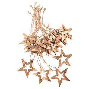 Závěsná dřevěná hvězda přírodní - 18 ks