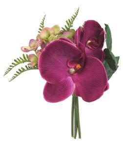 Umělá kytice orchidej s hortenzií - tmavě fialová