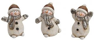 Keramický sněhulák hnědý 6 cm