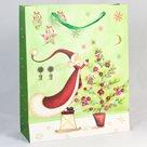 Dárková vánoční taška zelená (18 x 23 x 8 cm)