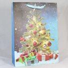 Dárková vánoční taška modrá (31 x 42 x 12 cm)