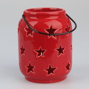 Závěsný svícen s hvězdami - červený