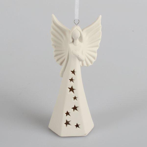 Porcelánový LED anděl svítící