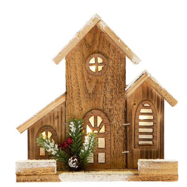 Dřevěný domeček se světlem - malý