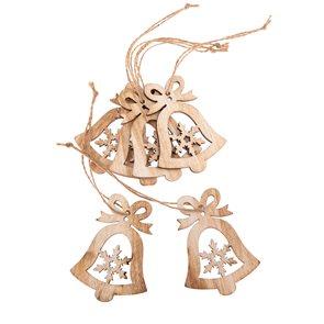 Závěsné dřevěné vánoční ozdoby 6 ks - Zvonečky s vločkou