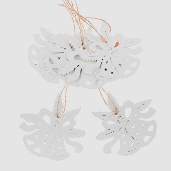 Závěsné vánoční ozdoby 6 ks - Zvonečky bílé