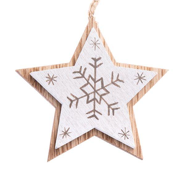 Závěsná dřevěná hvězda - bílá