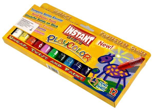 Playcolor - tuhé temperové barvy 12 kusů