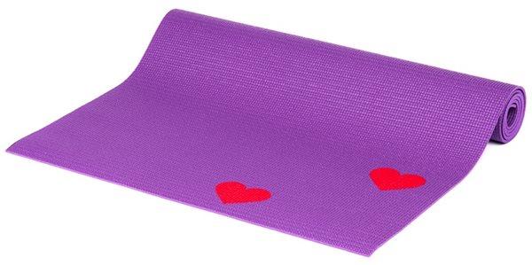 Dětská podložka na cvičení - fialová srdíčka