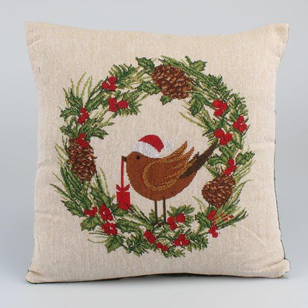 Gobelínový povlak na polštář Vánoční ptáček