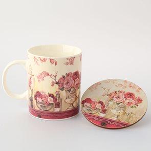 Porcelánový hrnek + podložka - Rose
