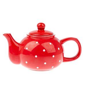 Keramická čajová konvička 1 l s puntíky - červená