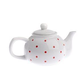 Keramická čajová konvička 1 l s puntíky - bílá