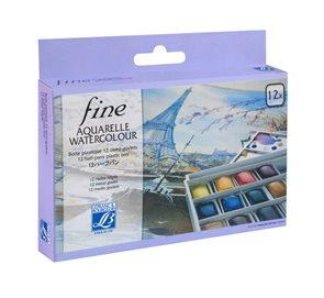 Sada akvarelových barev lefranc 12 polovičních pánviček