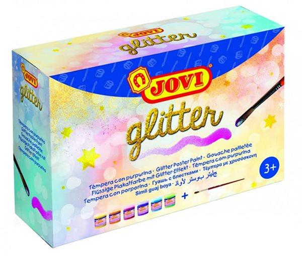 Barvy temperové Jovi sada glittrové 6×55 ml v kelímku, štětec