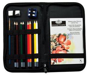 Kreslířská sada - 8x akvarel tužka + stětec + skicák (6 listů) + ořezávátko