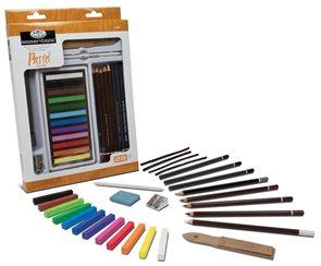 Velký pastelový set - 12x jemný pastel + příslušenství