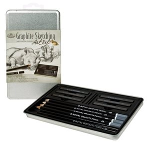 Grafitový skicovací set - 4x grafitová tužka + 6x grafitová tyčinka + 2x grafitová tužka bez dřeva