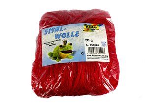 Sisalové vlákno 50 g - barva červená