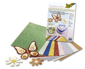 Barevný papír metalíza 23×33 cm - motiv květiny, mix 10 barev