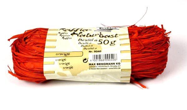 Přírodní lýko - 50 g - barva oranžová