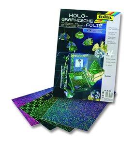 Holografická fólie - samolepicí, - 23 x 33 cm, 4 listy, různé barvy