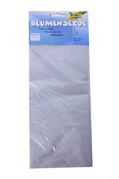 Hedvábný papír 50x70 cm, 20 g/m, složený na 25x35 cm, 5 listů, barva stříbrná