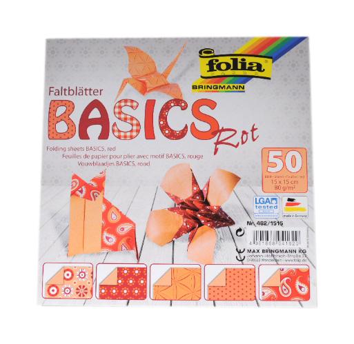 Origami papír Basics 80g/m2 - 10 x 10 cm, 50 archů - červený