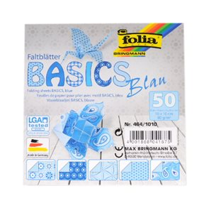 Origami papír Basics 80g/m2 - 10 x 10 cm, 50 archů - modrý