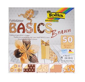 Origami papír Basics 80g/m2 - 10 x 10 cm, 50 archů - hnědý