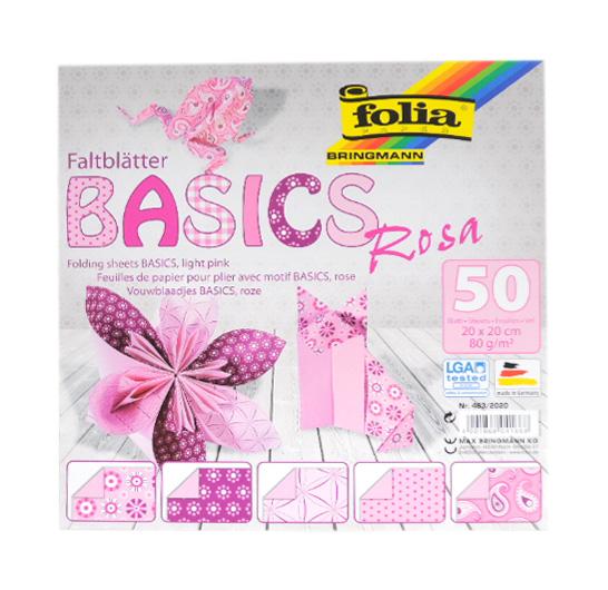 Origami papír Basics 80g/m2 - 15 x 15 cm, 50 archů - růžový
