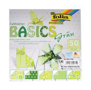 Origami papír Basics 80g/m2 - 15 x 15 cm, 50 archů - zelený