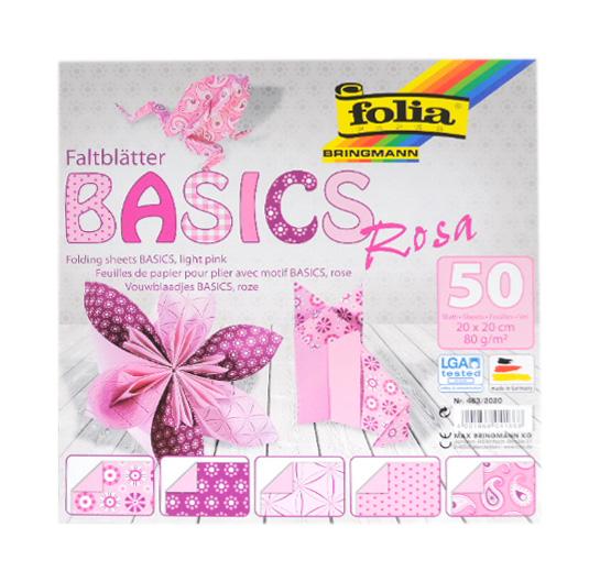 Origami papír Basics 80g/m2 - 20 x 20 cm, 50 archů - růžový