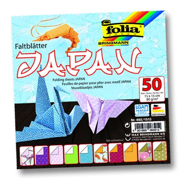 Origami papír Japonsko 80g/m2 - 15 x 15 cm, 50 archů