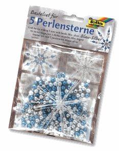 Sada na výrobu hvězd z perliček - modrá/stříbrná/perleťová
