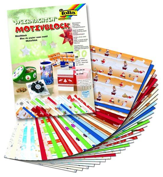 Barevný papír - 24 x 34 cm - Vánoce - 30 listů mix