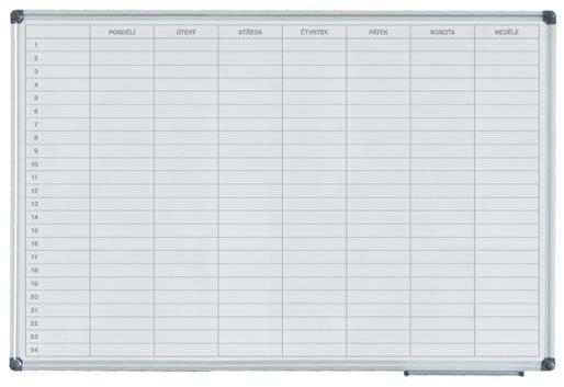 Tabule magnetická Filux plánovací 60×90 cm - týdenní, Doprava zdarma