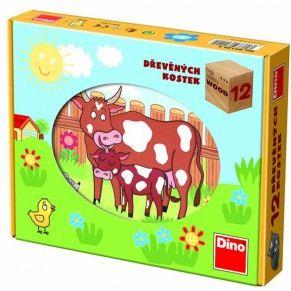 Dřevěné kostky - Domácí zvířátka