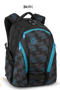 Studentský batoh BAG 09 C - černo-modrá