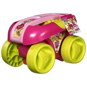 Vozík s kostkami růžový / stavebnice Mega Bloks/