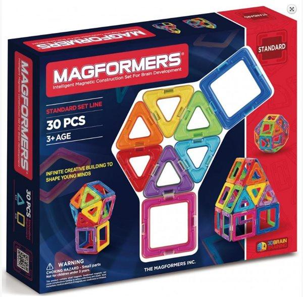 Magformers - 30 Rainbow (30 dílů 18 čtverečků, 12 trojúhelníků)