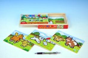 Puzzle dřevěné - Moje první zvířátka 4×12 dílků v krabičce