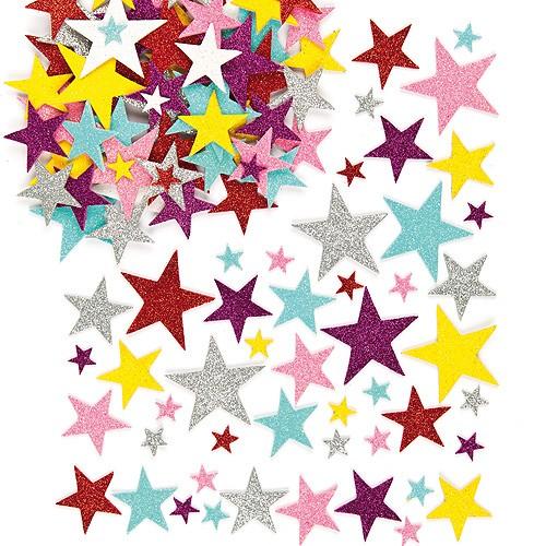 Samolepky pěnové - Třpytivé hvězdičky 150 ks